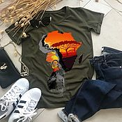 Одежда handmade. Livemaster - original item African Woman Pattern T-shirt-TEE10323CT. Handmade.