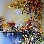 Картины и панно ручной работы. Ярмарка Мастеров - ручная работа Картина лентами Осень. Handmade.
