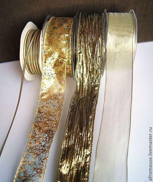 Ленты бронзового цвета, для отделки, декора, упаковки и прочих рукоделий.