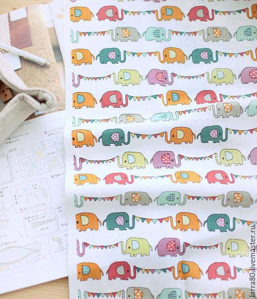Шитье ручной работы. Ярмарка Мастеров - ручная работа. Купить Хлопок К20-57 слоники Корея. Handmade. Ткань для кукол