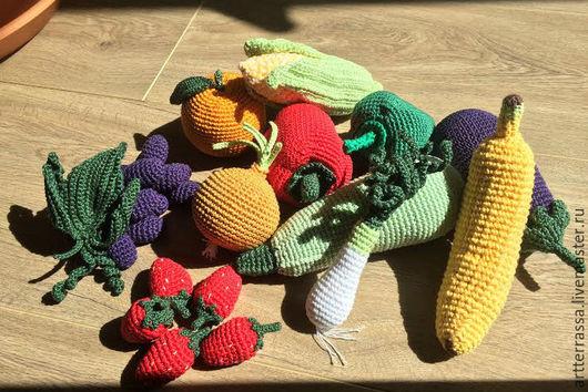 Еда ручной работы. Ярмарка Мастеров - ручная работа. Купить Вязаные овощи и фрукты. Handmade. Вязаные овощи, детские игрушки
