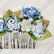 """Свадебный салон ручной работы. Ярмарка Мастеров - ручная работа гребень """"Лунный цветок"""" сине-голубой  цветочный гребень невесты. Handmade."""