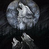 Футболки ручной работы. Ярмарка Мастеров - ручная работа Футболки с волками. Handmade.