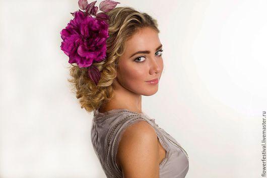 """Цветы ручной работы. Ярмарка Мастеров - ручная работа. Купить Роза из шелка """"Lady"""". Цветы из ткани. Handmade. Фуксия, большой цветок"""