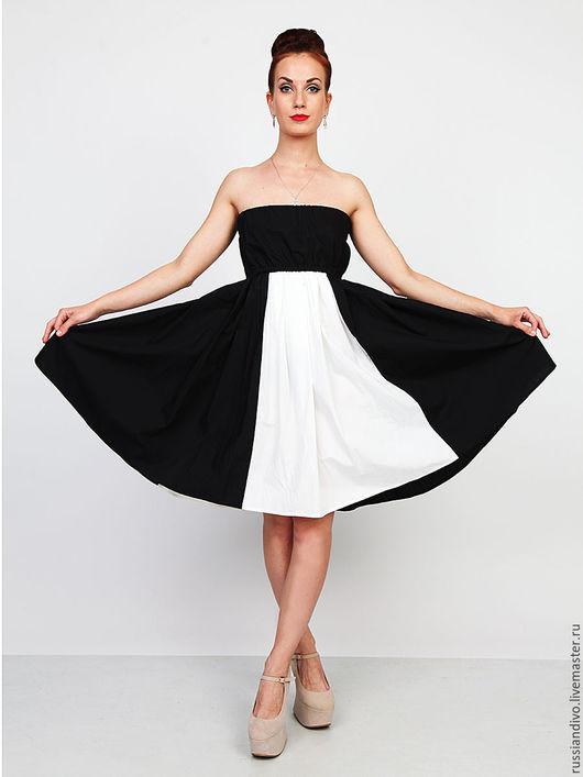 Платья ручной работы. Ярмарка Мастеров - ручная работа. Купить Платье Черно-Белое. Handmade. Чёрно-белый, юбка солнце