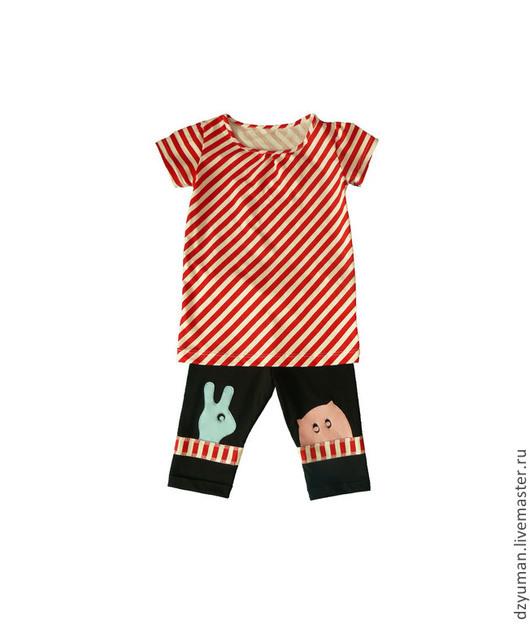 """Одежда для девочек, ручной работы. Ярмарка Мастеров - ручная работа. Купить Футболка-туника с леггинсами """"Прекрасная диагональ"""". Handmade. В полоску"""