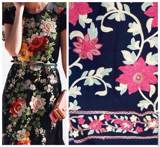 """Шитье ручной работы. Ярмарка Мастеров - ручная работа. Купить Вискоза с вышивкой """"Цветы"""", ткань Италия. Handmade. Комбинированный, valentino"""