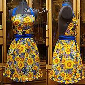 Халаты ручной работы. Ярмарка Мастеров - ручная работа Домашнее платье-фартук короткое яркое цветочек на заказ купить. Handmade.