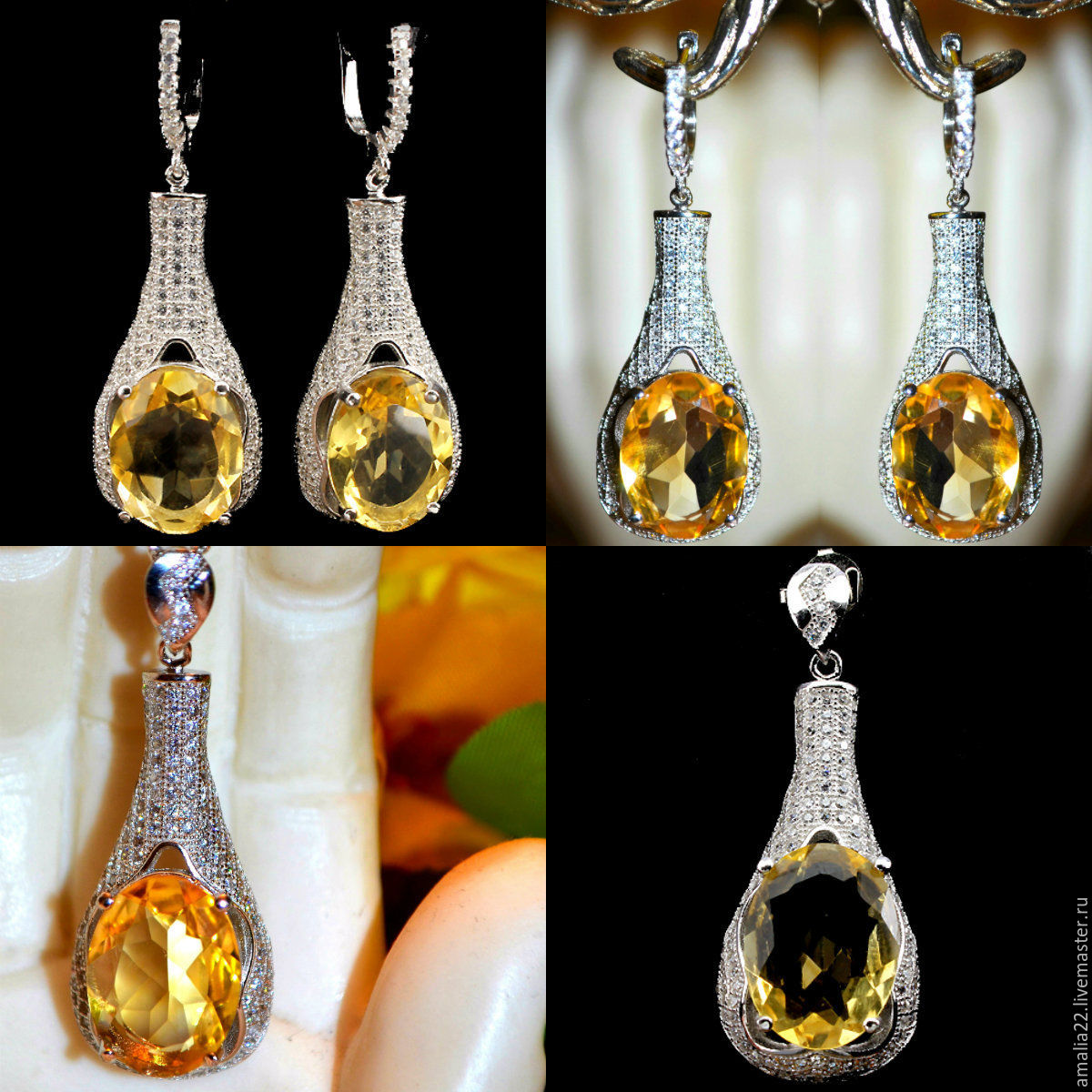 Earrings And Pendant Beatrice Citrine Natural Zircon Silver Plated Yellow Jewelry Sets Handmade Livemaster Buy