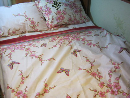 """Текстиль, ковры ручной работы. Ярмарка Мастеров - ручная работа. Купить 2х-спальный комплект постельного белья """"Сакура"""". Handmade."""