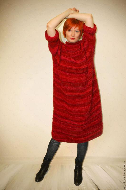"""Платья ручной работы. Ярмарка Мастеров - ручная работа. Купить """"Тепло осенней ночи"""". Handmade. Ярко-красный, теплое платье"""