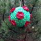 """Подарочные наборы ручной работы. Ярмарка Мастеров - ручная работа. Купить большой ёлочный шар""""Роза"""". Handmade. Зеленый, новогодний сувенир"""