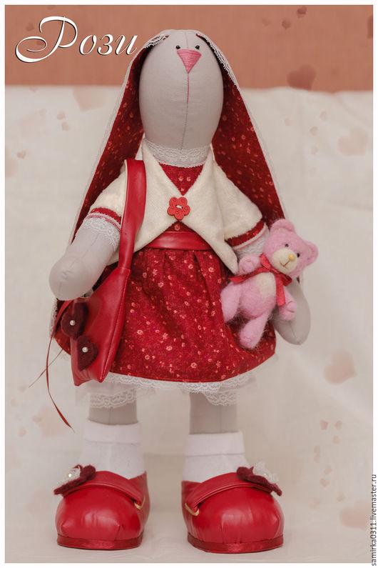 Куклы Тильды ручной работы. Ярмарка Мастеров - ручная работа. Купить зайчиха Рози. Handmade. Бордовый, подарок женщине, подарок