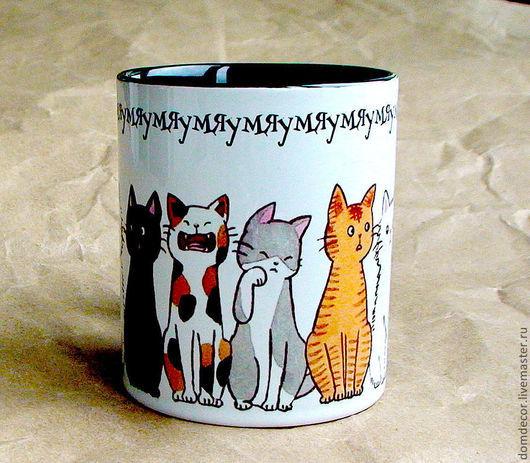 """Кружки и чашки ручной работы. Ярмарка Мастеров - ручная работа. Купить Чашка """"Мяу-мяу"""". Handmade. Кошки, мяу, сувенир"""