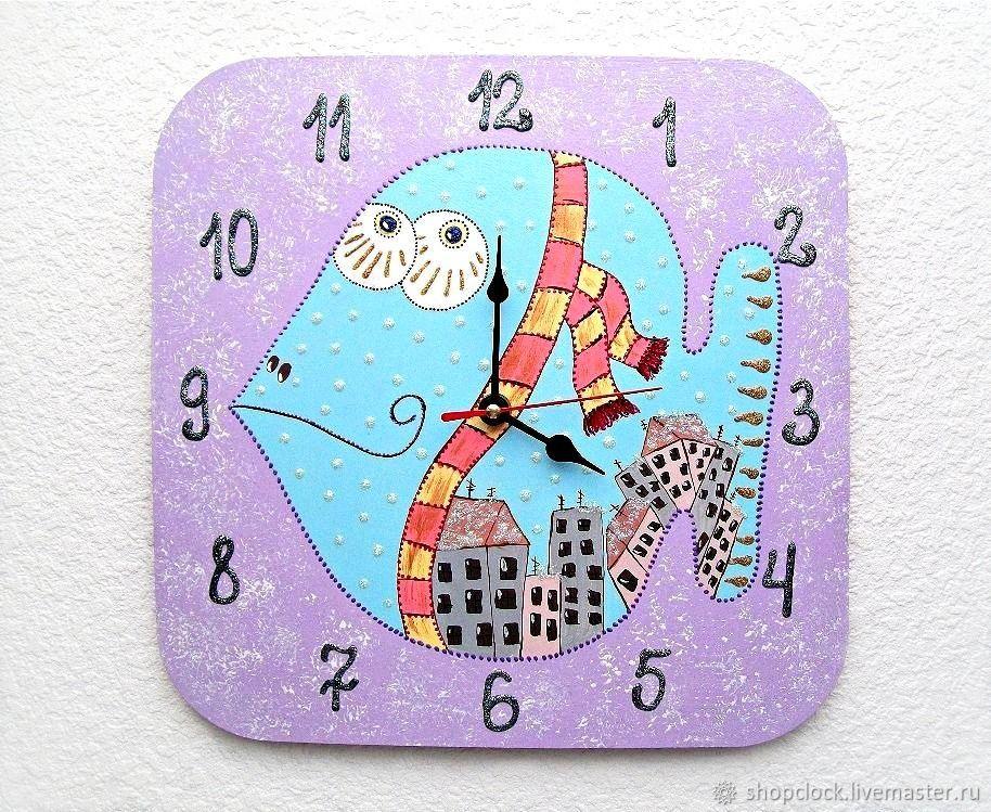 Wall clock in the children's room Blue fish, children's clock, Watch, Novosibirsk,  Фото №1