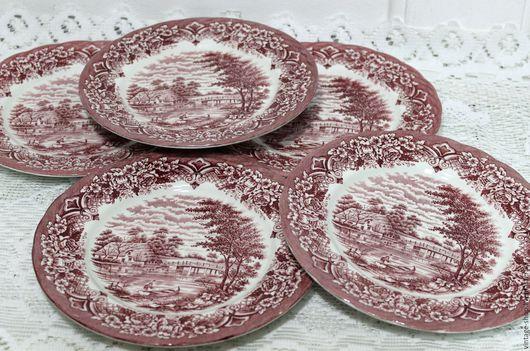Винтажная посуда. Ярмарка Мастеров - ручная работа. Купить Английские десертные тарелки W.H. Grindley Staffordshire. Handmade. Коралловый