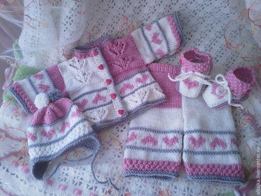 Одежда ручной работы. Ярмарка Мастеров - ручная работа. Купить Костюм для новорожденного. Handmade. Бледно-розовый, для малыша
