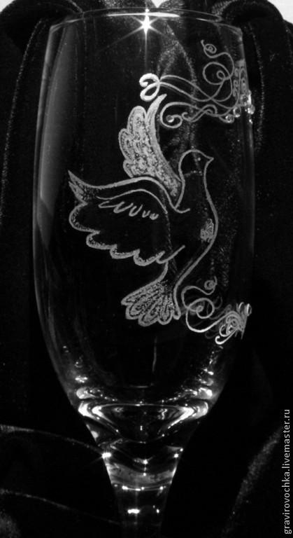 Бокалы, стаканы ручной работы. Ярмарка Мастеров - ручная работа. Купить Свадебные бокалы  Голуби гравировка. Handmade. Свадьба