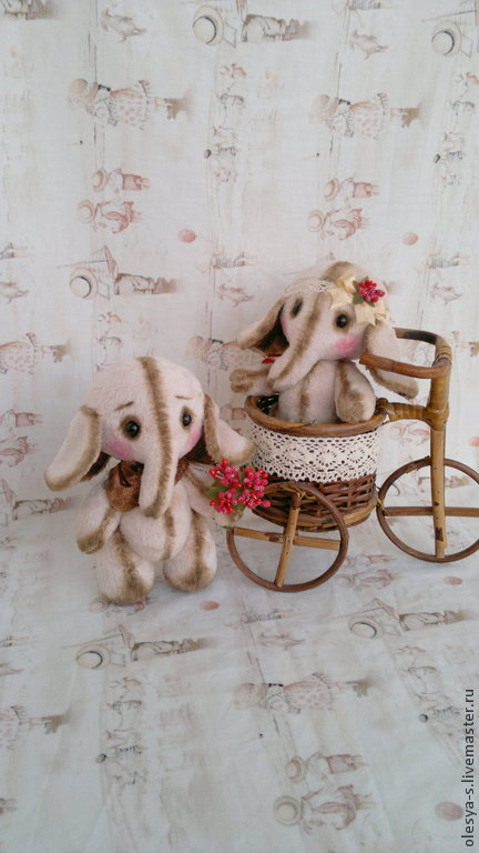 Игрушки животные, ручной работы. Ярмарка Мастеров - ручная работа. Купить Пара слоников. Handmade. Бежевый, слоник, искусственный мех