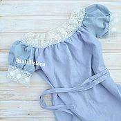Одежда ручной работы. Ярмарка Мастеров - ручная работа Серое льняное платье в стиле Бохо с винтажным кружевом. Handmade.