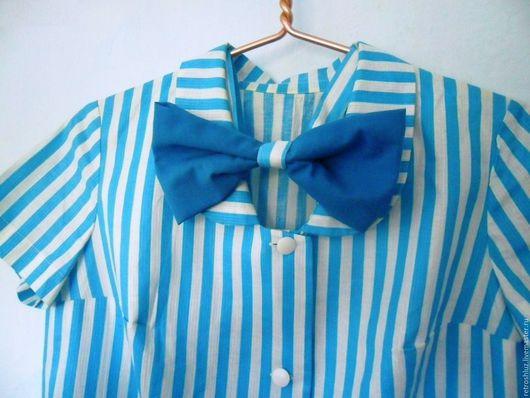 Одежда. Ярмарка Мастеров - ручная работа. Купить Платье халат в морскую полоску. Handmade. Синий, платье рубашка, одежда для отдыха