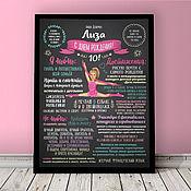 Подарки к праздникам handmade. Livemaster - original item Poster achievements for my daughter (portrait). Handmade.