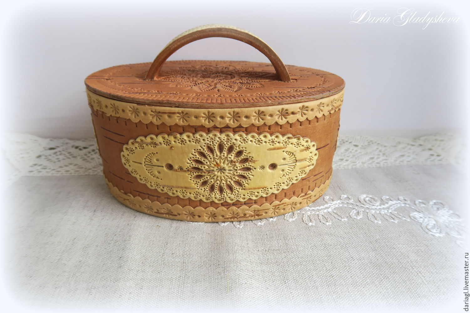 """Birch bark basket (tues, tuesok) from Russia """"Birch bark fable"""", Basket, Moscow,  Фото №1"""