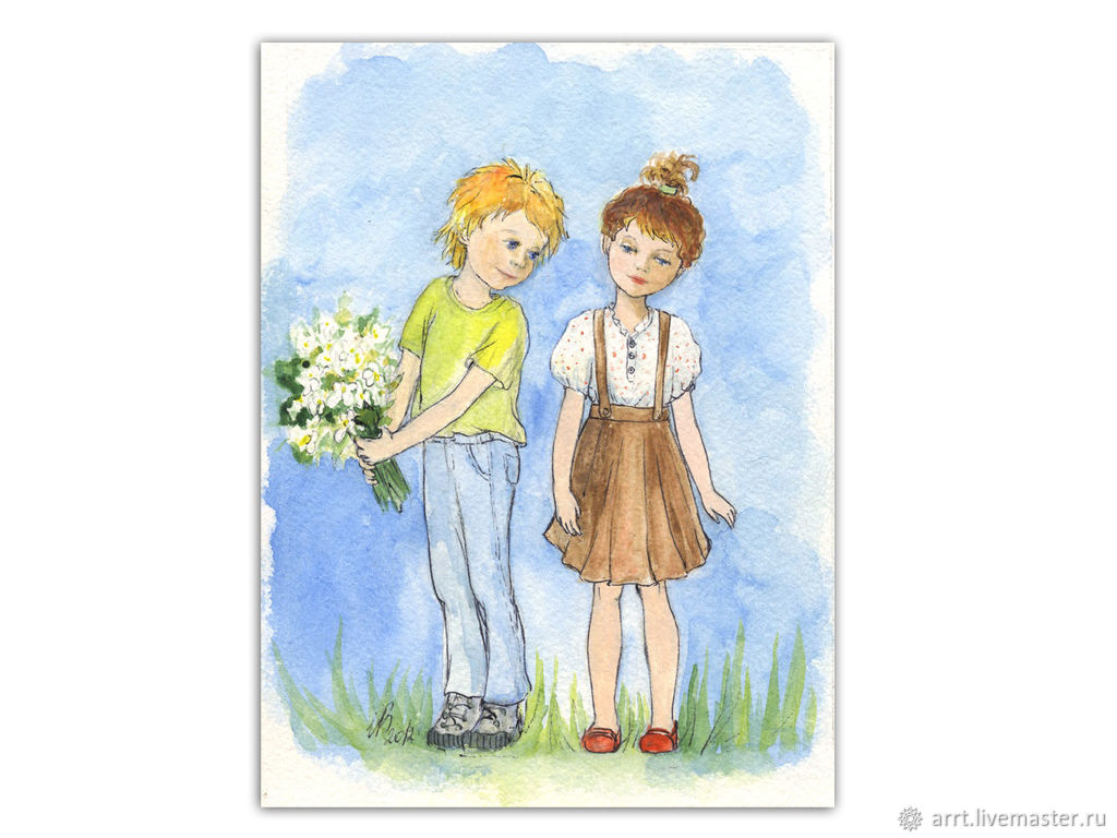 Painting Flowers for you Watercolor 13na18smPodarok for lovers, Pictures, St. Petersburg,  Фото №1