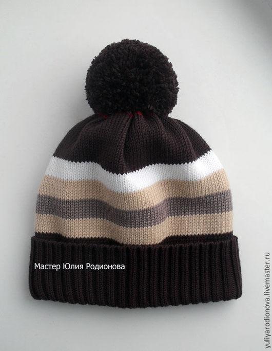 Шапки и шарфы ручной работы. Ярмарка Мастеров - ручная работа. Купить Зимняя мериносовая шапочка для мальчика. Handmade. Коричневый