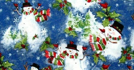 """Шитье ручной работы. Ярмарка Мастеров - ручная работа. Купить ТКАНЬ  хлопок """" Снеговики""""  В НАЛИЧИИ. Handmade."""