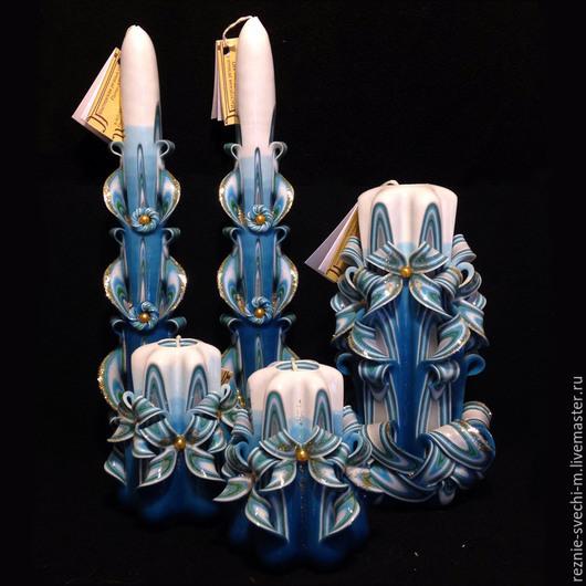 Свечи ручной работы. Ярмарка Мастеров - ручная работа. Купить Подарочный набор из пяти свечей с тонкими свечами. Handmade.