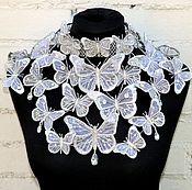 Украшения handmade. Livemaster - original item A necklace of butterflies Wedding silver necklace Shoulder necklace. Handmade.