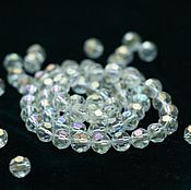Кристаллы ручной работы. Ярмарка Мастеров - ручная работа Бусина стеклянная круглая прозрачная АВ цвет, кристалл 8мм. Handmade.