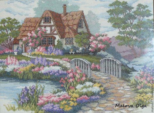 Пейзаж ручной работы. Ярмарка Мастеров - ручная работа. Купить Дом в саду. Handmade. Разноцветный, домик, мулине