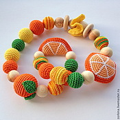 Одежда handmade. Livemaster - original item Developing tactile toy-children`s game beads Tangerine. Handmade.