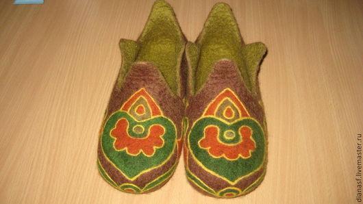 Обувь ручной работы. Ярмарка Мастеров - ручная работа. Купить Ханские - мужские валяные тапочки. Handmade. Разноцветный, этнические мотивы