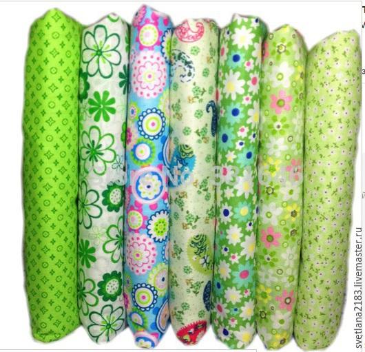 Шитье ручной работы. Ярмарка Мастеров - ручная работа. Купить набор ткани зеленоватый. Handmade. Ярко-зелёный, ткань для творчества