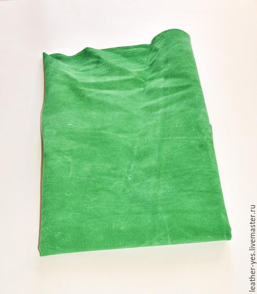 Шитье ручной работы. Ярмарка Мастеров - ручная работа. Купить Кожа натуральная, ярко-зеленая, Е66. Handmade. Ярко-зелёный