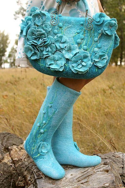 """Обувь ручной работы. Ярмарка Мастеров - ручная работа. Купить Войлочные сапожки """"Blue dream"""". Handmade. Голубые валенки, бирюза"""