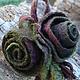 Комплект украшений ( 3 розы,брошь. браслет, заколка )ДРЕВЕСНЫЕ РОЗЫ