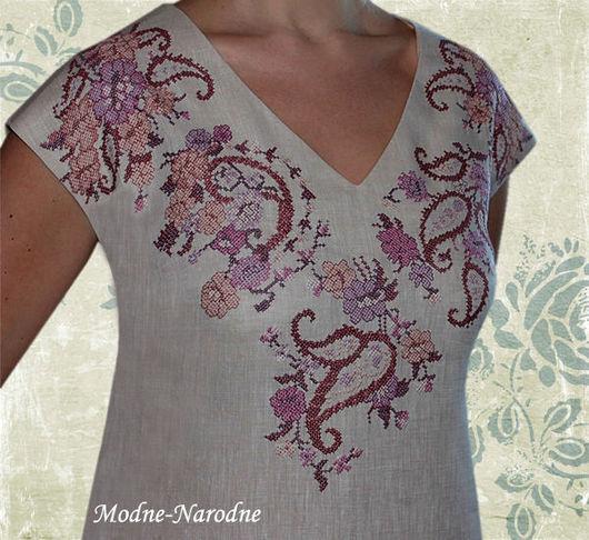 Льняное платье с ручной вышивкой Восточные мотивы.\r\nМодная одежда с ручной вышивкой. \r\nТворческое ателье Modne-Narodne.