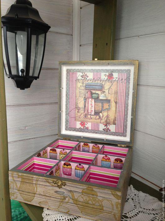 Кухня ручной работы. Ярмарка Мастеров - ручная работа. Купить Чайная коробка. Handmade. Декупаж, для интерьера, уют, корзинка для мелочей