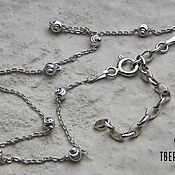 Украшения handmade. Livemaster - original item Silver ROLO FLAT Chain WITH 3 MM BALLS WITH MOON NOTCH