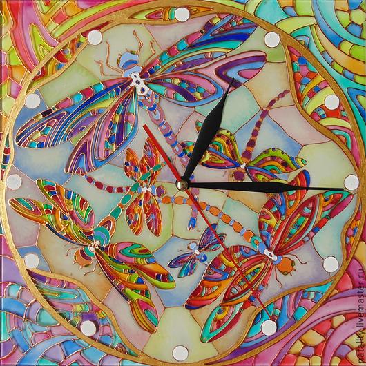 """Часы для дома ручной работы. Ярмарка Мастеров - ручная работа. Купить Часы """"Витражные стрекозы"""". Handmade. Часы с росписью"""