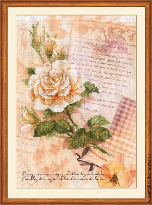 Вышивка ручной работы. Ярмарка Мастеров - ручная работа. Купить Письмо о любви.Роза Набор для вышивания. Handmade. Розовый, роза