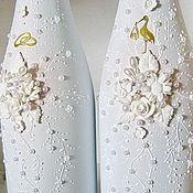 Бутылки ручной работы. Ярмарка Мастеров - ручная работа Свадебные бутылки Аист и кольца Белая свадьба. Handmade.