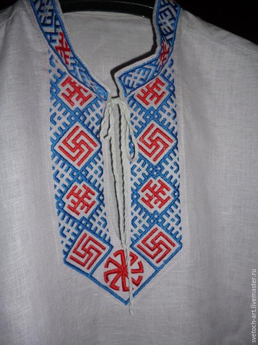 Одежда ручной работы. Ярмарка Мастеров - ручная работа. Купить Рубаха мужская Арт.001. Handmade. Белый, славянская символика