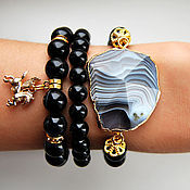 Украшения handmade. Livemaster - original item Stylish set of bracelets made of black agate. Handmade.