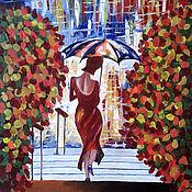 """Картины ручной работы. Ярмарка Мастеров - ручная работа Картина маслом """"Женщина осень"""". Handmade."""