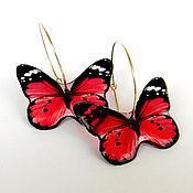 """Украшения ручной работы. Ярмарка Мастеров - ручная работа Прозрачные серьги """"Бабочки"""" красные. Handmade."""